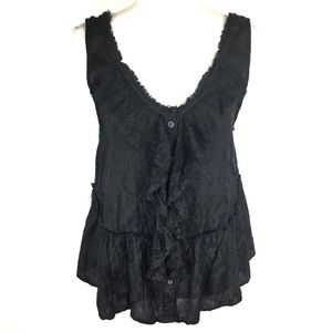 Free People Top Sz M Black Lace Sleeveless Sheer